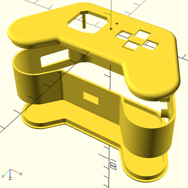 openscad joy featherwing 3D all view