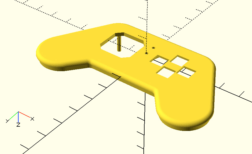 openscad joy featherwing 3D top view