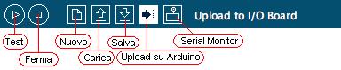 Barra degli strumenti dell IDE Arduino