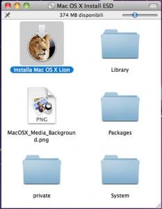 Contenuto del Dvd Lion OS X