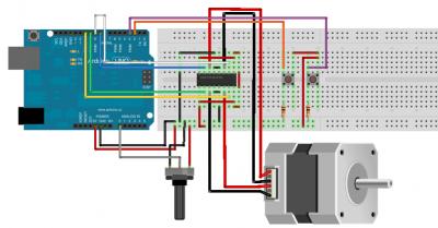 Motore stepper bipolare due pulsanti e un potenziometro