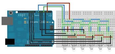 schema 6 led RGB con 6 segnali PWM