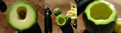 svuotare le zucchine tonde