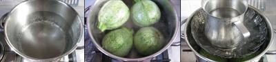 cuocere le zucchine tonde in acqua bollente