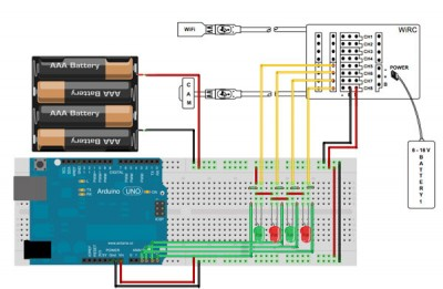 collegamento WiRC arduino e led