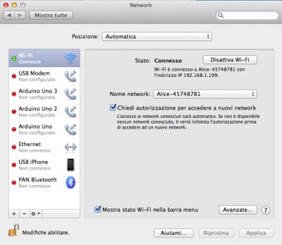 schermata preferenze di rete wifi OSX