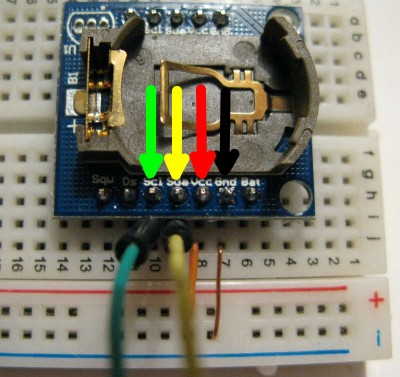 RTC DS1307 connessioni SCL,SDA,Vcc,Gnd