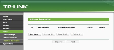 MR3020 DHCP Address Reservation