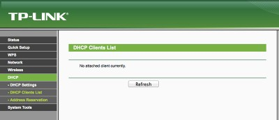 MR3020 DHCP List Client