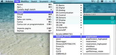 1 8 tft display st7735 esempi