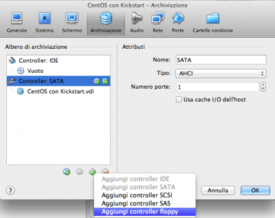 Kickstart Linux Vbox aggiungi Floppy