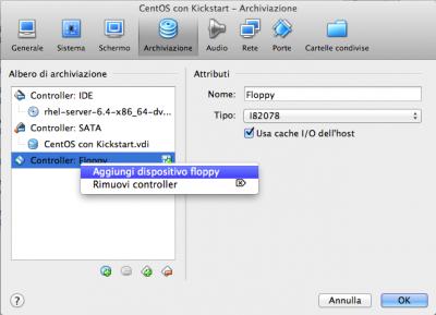 Kickstart Linux Vbox associa floppy