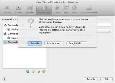 Kickstart Linux Vbox scegli floppy