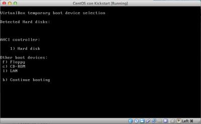 Kickstart Linux Vbox select cdrom al boot