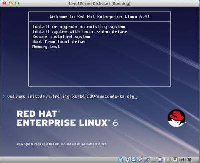 Kickstart Linux Vbox seleziona ks floppy
