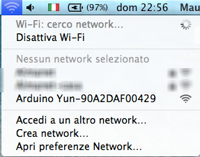 Arduino Yun WiFi network mac os x