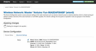 Arduino Yun configurazione avanzata change ssid waiting