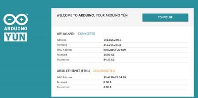 Arduino Yun schermata di benvenuto