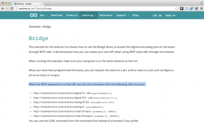 arduino yun bridge REST