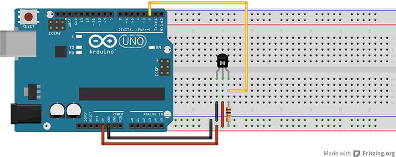 Un sensore di temperatura digitale Filo-DS18B20
