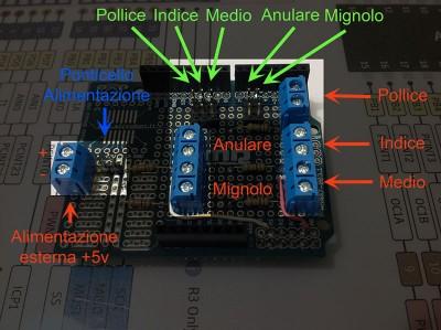 mano robotica collegamenti