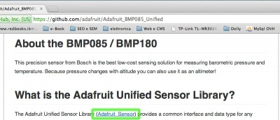 BMP085 barometric sensor unified sensor library