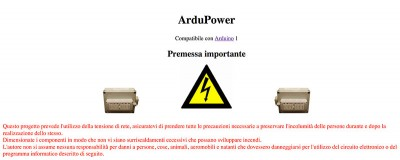 ardupower avvertenze