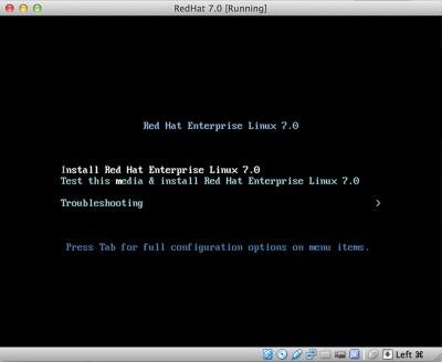 RedHat Enterprise Linux 7 avvio installazione