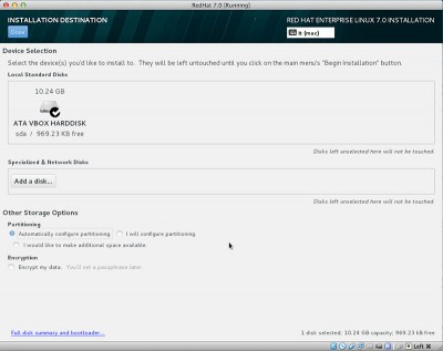 RedHat Enterprise Linux 7 configurazione automatica partizioni