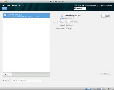 RedHat Enterprise Linux 7 ethernet enp0s3