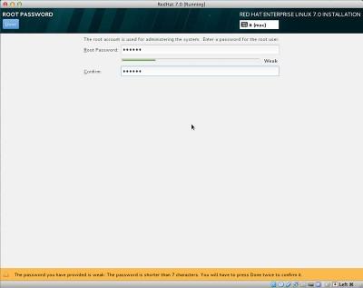 RedHat Enterprise Linux 7 imposta password root