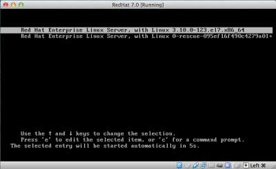 RedHat Enterprise Linux 7 primo startup