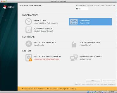 RedHat Enterprise Linux 7 scelta layout tastiera