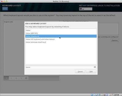 RedHat Enterprise Linux 7 seleziona layout