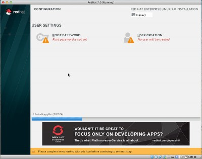 RedHat Enterprise Linux 7 start installazione