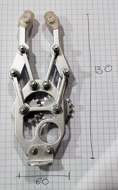 braccio robot dimensioni mano chiusa