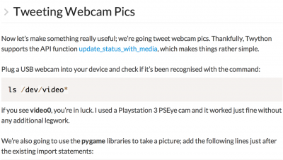 Tweeting Webcam Pics allarme video raspberry pi