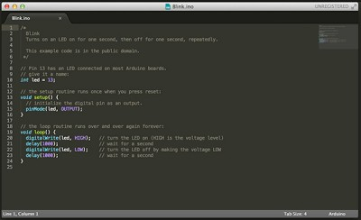 Sublime Text Arduino IDE 1.5.6r2 blink