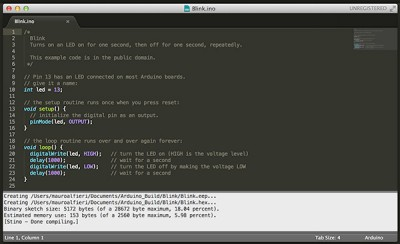 Sublime Text Arduino IDE 1.5.6r2 done compiling