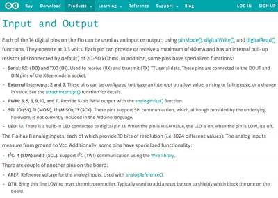 arduino fio input and output