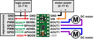 bionic hand DRV8835 connection schema