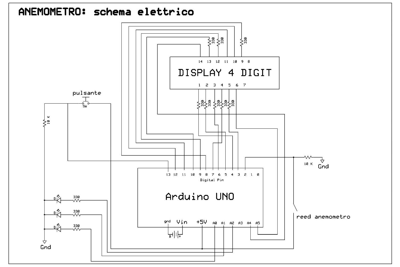 Schema Elettrico Pulsante : Anemometro a coppe portatile mauro alfieri elettronica