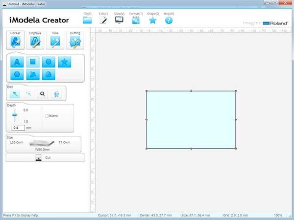iModela Creator PCB piano disegna rettangolo