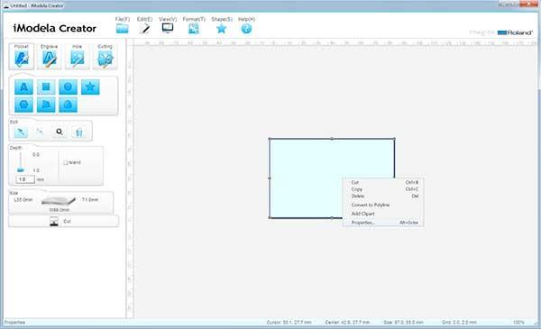iModela Creator PCB piano properties
