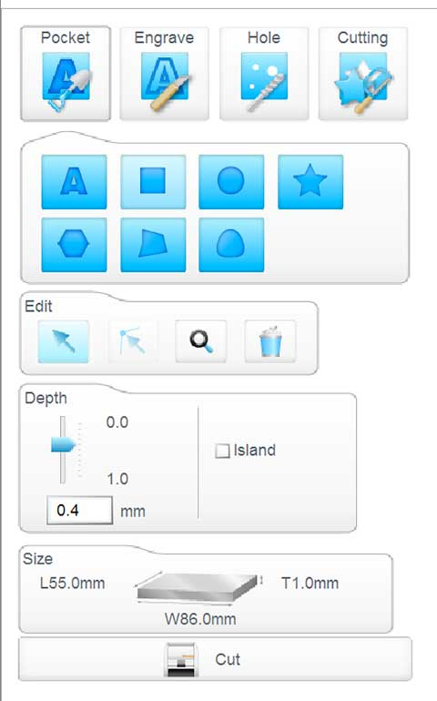 iModela Creator PCB piano depth