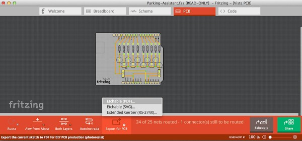 PCB Fritzing to iModela export PDF