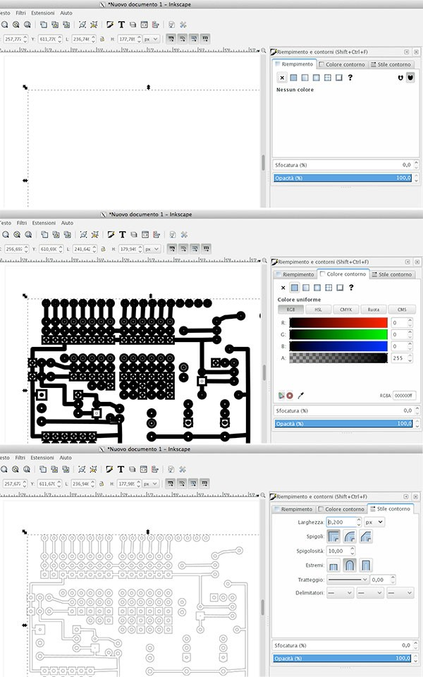 PCB Fritzing to iModela riempimento contorno style