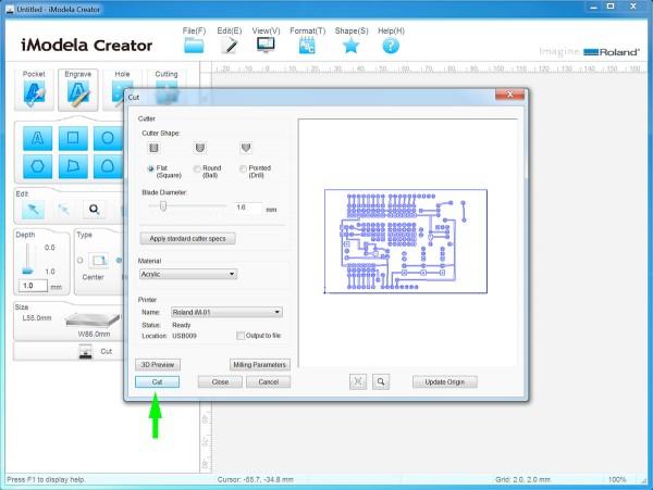 PCB iModela Creator cut
