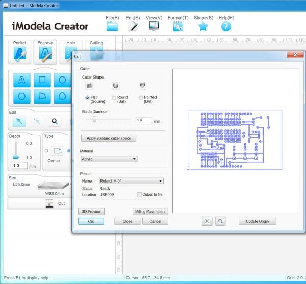 PCB iModela Creator cut parameter