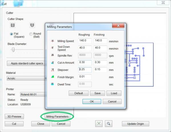 PCB iModela Creator cut parameter milling